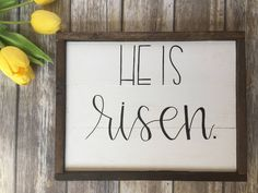He Is Risen sign, Bible verse wall art, Easter decor, Farmhouse style, spring Art, Welcome spring, Gallery wall, Farmhouse decor by WildCedarCo on Etsy https://www.etsy.com/listing/523359715/he-is-risen-sign-bible-verse-wall-art