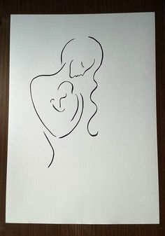 Items similar to 23 x 16 in / Large mother with baby drawing. Black and white line art. on Etsy Pencil Art Drawings, Doodle Drawings, Black And White Art Drawing, Mom Drawing, Mother Art, Baby Tattoos, Minimalist Art, Wire Art, Pictures To Draw