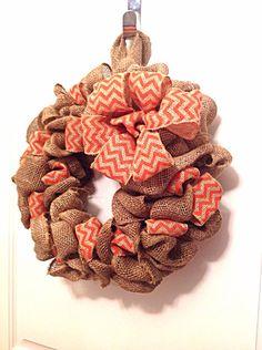 Burlap wreath orange chevron wreath front door by Fourgirlsfun