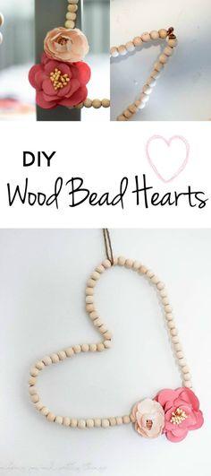 diy wood bead hearts