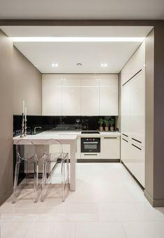kleine küche einrichten beige wände