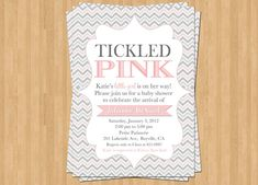 Baby Girl Shower Invitation  Tickled Pink  by TheOlivePressPaper, $18.75