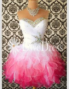 Pink white and silver ombré short fluffy dress