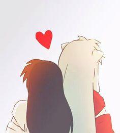 Image about love in Inuyasha by meli on We Heart It Inuyasha Fan Art, Inuyasha And Sesshomaru, Kagome Higurashi, Kagome And Inuyasha, Kirara, Animation, Cute Anime Couples, Fan Fiction, Anime Love