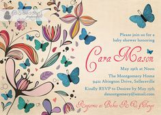 Butterflies Baby Shower Invitation Rustic by digibuddhaPaperie