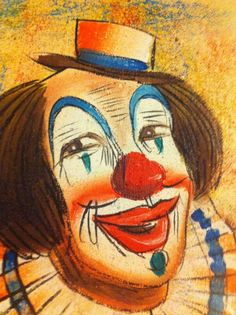 Fine Art Original Vintage clown painting by bob Kelley!! #Fineart