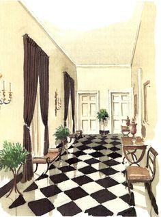 mark hampton watercolors of great rooms  http://markdsikes.com/2012/09/02/mark-hampton-paints/
