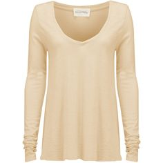 American Vintage Jacksonville Long Sleeve Tee - Biscuit ($63) ❤ liked on Polyvore featuring tops, t-shirts, biscuit, long sleeve tee, long sleeve v neck t shirts, layering tee, long sleeve v neck top and layered tops