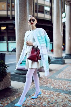 KAYTURE Coat: Just Cavalli, Top: Vintage, Skirt: Three Floor, Shoes: Gianvito Rossi, Bag: Louis Vuitton, Sunnies: Dior, Rings: H&M.