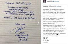 Tulisan Tangan Ahok Ucapkan Selamat Idul Fitri di Mako Brimob