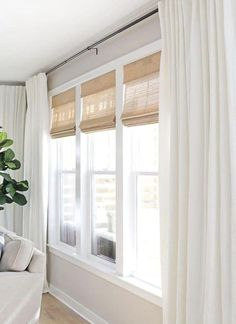When it's time to cover up the windows with curtains, our ideas have got you covered. There are a number of ways in which you can hang curtains and make your windows larger than life. Large Window Curtains, Blinds For Large Windows, Unique Curtains, Modern Windows, Bedroom Window Curtains, Hang Curtains, Curtains And Blinds Together, Closet Curtains, Modern Blinds