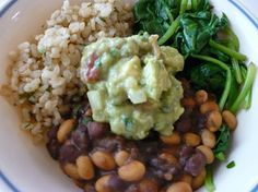 Cilantro Lime Rice w Beans & Guacamole!! Yumm, but with Mexican rice instead!!
