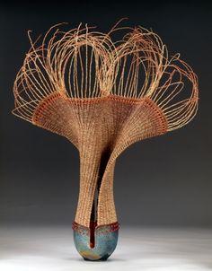 Raku by Marc Jenesel and weaving by Karen Pierce This is just incredible Sculptures Céramiques, Sculpture Art, Ceramic Pottery, Ceramic Art, Creation Art, Philadelphia Museum Of Art, Pottery Sculpture, Gourd Art, Weaving Art