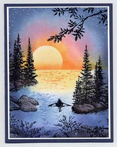sunset lake by lvogt - Cards and Paper Crafts at Splitcoaststampers