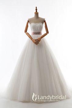 Modest A-line Sweetheart Natural Train Tulle Ivory Sleeveless Lace Up-Corset Wedding Dress with Ribbons JWLT15066 #weddingdresses #landybridal