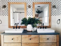 Bathroom Decor organization Ive been starting to brainstorm our next bathroom we have to do and what direction I want to take it. I think its going to be hard to top Modern Bathroom Decor, Bathroom Trends, Rustic Bathrooms, Bathroom Interior Design, Bathroom Ideas, Bathroom Inspo, Bathroom Renovations, Modern Decor, Bad Inspiration