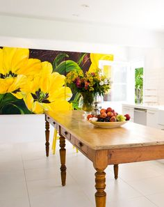 Bold burst of color in the kitchen & a rustic farm table Bobby Burgers, Burger Kitchen, Art Moderne, Mellow Yellow, Decoration, Painting Inspiration, Home Art, House Design, Interior Design
