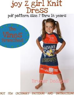joy Z girl dress PATTERN using knit fabrics OR t-shirts 7 thru 14 years - Pattern and Instructions pdf -