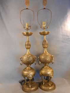 Chinese Brass 1940 Victorian Asian Table Lamps Original Finials | eBay