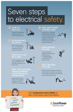 Seven steps to electrical safety Health And Safety Poster, Safety Posters, Safety Pictures, Safety Slogans, Safety Meeting, Camping First Aid Kit, Construction Safety, Safety Awareness, Safety Topics