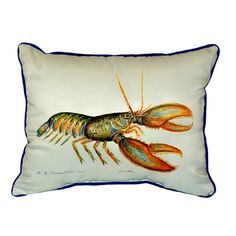 Betsy Drake Lobster 16-inch x 20-inch Throw Pillow (Lobster Pillow 16x20), Multi