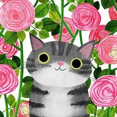 Good morning pictures with beautiful kittens! Art And Illustration, Illustrations, Cat Drawing, Crazy Cats, Cat Love, Pet Portraits, Cats And Kittens, Art Projects, Artsy