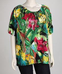 Take a look at this Green Jungle Plus-Size Top by Thomas & Olivia on #zulily today!  $14.99, regular 54.00