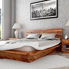 The Flagstaff Handcrafted Solid Wood Platform Bed Frame offers a complete solution for creating the ultimate relaxation spot. The bed with horizontal slat he...