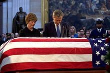 """""""A great American life has come to an end. During the years of President Reagan, America laid to rest an era of division and self-doubt. And because of his leadership, the world laid to rest an era of fear and tyranny. Now, in laying our leader to rest, we say thank you. He always told us that for America, the best was yet to come. We comfort ourselves in the knowledge that this is true for him, too. His work is done, and now a shining city awaits him. May God bless Ronald Reagan."""" Bush…"""