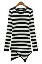Black White Striped Long Sleeve Asymmetrical T-Shirt US$27.87