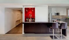 Inspiring And Cool Home Mini Bar Design Inspiration: Gorgeous Home Mini Bar Design with L-Shaped Brown Bar Table and Two Brown Bar Stool also White Sliding Door Wine Cabinet – Ewehome Interior Design Ideas and Furniture