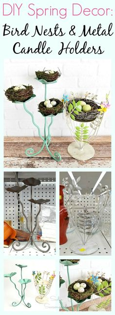 Here's a fun, simple, and sweet way to create wonderful fresh decor this Spring! Repurpose and upcycle metal candle holders from the thrift store into bird nest decor- all you need is a candle holder, some paint, and a pretty little bird's nest! Get all the DIY craft details from Sadie Seasongoods at www.sadieseasongoods.com .