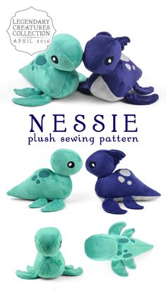 The Monthly Crafting Challenge Creature for April is here! For this rainy month ., Monthly Crafting Challenge Creature for April is here! For this rainy month we've got a little chibi Nessie! If you're just finding out about . Plushie Patterns, Pdf Sewing Patterns, Softie Pattern, Pattern Sewing, Craft Patterns, Knitting Patterns, Sewing Stuffed Animals, Stuffed Animal Patterns, Sewing Toys