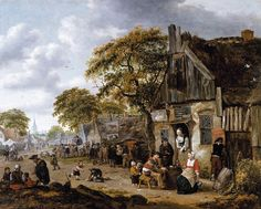 Salomon Rombouts Village Street Scene hand embellished reproduction on canvas by artist Canvas Art For Sale, Canvas Art Prints, Castle Series, Classic Image, Prehistory, Famous Artists, 17th Century, Art Reproductions, Traditional Art