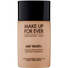 MAKE UP FOR EVER Mat Velvet + Matifying Foundation ($36) ❤ liked on Polyvore featuring beauty products, makeup, face makeup, foundation, beauty, fillers, cosmetics, fillers - brown, liquid foundation and oil free foundation