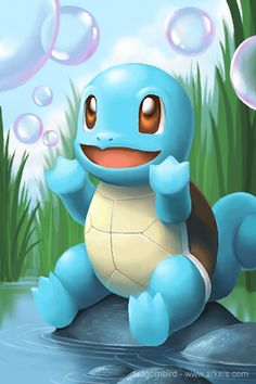 Squirtle by arkeis-pokemon Mega Pokemon, Play Pokemon, Pokemon Memes, Pokemon Fan Art, Cool Pokemon, Cute Pokemon Wallpaper, Cartoon Wallpaper, Pokemon Painting, Pikachu Art