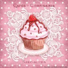 images attach c 11 127 785 Cupcake Drawing, Cupcake Art, Cupcake Fondant, Vintage Cupcake, Rose Cupcake, Cupcake Toppers, Vintage Labels, Vintage Toys, Vintage Posters