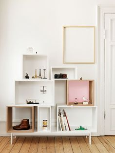 Buy Muuto Stacked Ash Shelf With Rose Backboard - Medium online with Houseology Price Promise. Full Muuto collection with UK & International shipping. Decor, Home Diy, Crate Shelves, Furniture, Interior, Home Decor, House Interior, Muuto Stacked, Home Deco