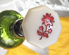Antique Milk Glass Door Knob Bottle Stopper Topper SCARLET PIMPERNEL Flower for Wine & Absinthe