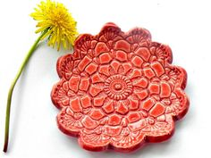 Ceramic Flower Plate Poppy Red Dish Lace Pattern Ring by Ceraminic, $15.00
