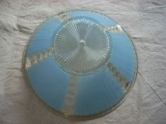 Vintage Blue Ribbed Haging Light Shade. $11.50, via Etsy.