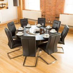 Large Round Black Oak Dining Table Gl Lazy Susan Led Lights 1 6m