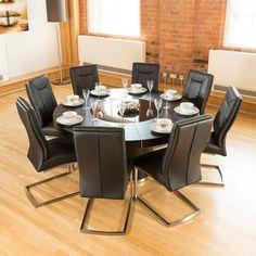 Large Round Black Oak Dining Table, Glass Lazy Susan, LED Lights 1.6m