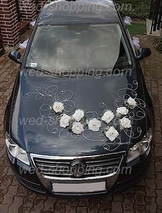 voiture de mariage roses blanches voiture lily mariage voiture ...