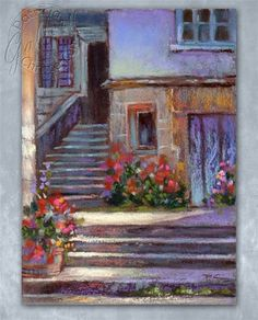 """Daily Paintworks - """"Sunlit Village Steps"""" by Patricia Christensen"""