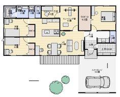 雨に濡れずに玄関に入る平屋の間取り図。最近要望の多い部屋のある住宅プラン | 平屋間取り House Plans, Floor Plans, Japanese Architecture, Flooring, How To Plan, World, Home, Ad Home, Wood Flooring