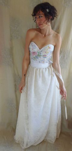 Meadow Bustier Wedding Gown... whimsical boho women dress fairy free people eco friendly country shabby chic alternative corset formal prom