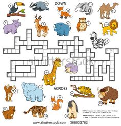 Vector color crossword, education game for children about animals - stock vector
