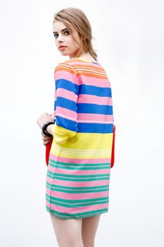 Colored Striped Medium Sleeve Dress - OASAP.com