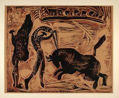 1962 Linocut Banderillas Bull Corrida de Toros Picasso - ORIGINAL PIC1 - Period Paper